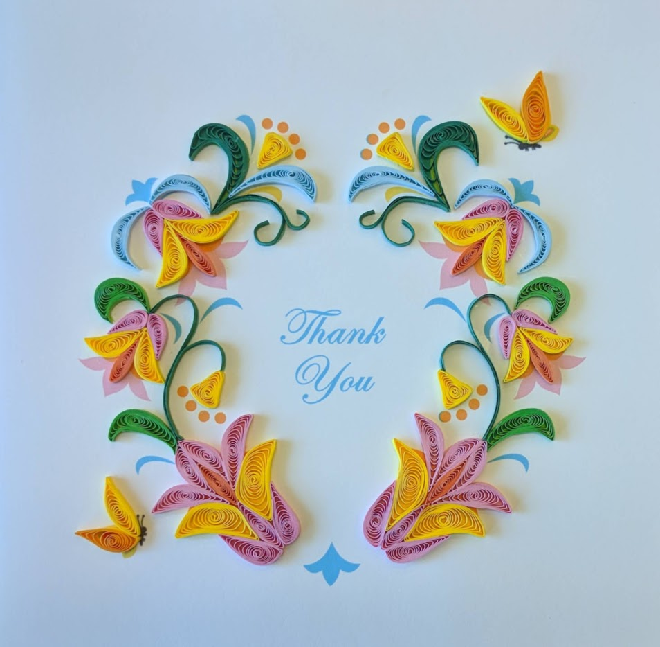 Card Quilling Thank You Flower Wreath