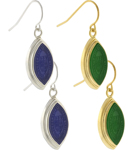 Signet Drop Earrings with Class Stone