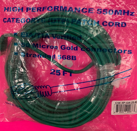 Cable 25 ft Ethernet Green CP Tech