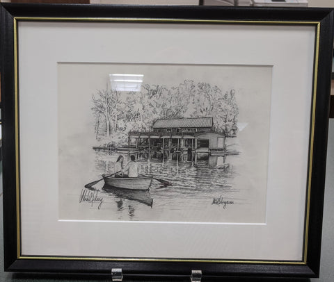 Framed Print Boathouse Black and White