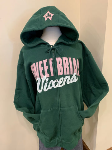 Full Zip Hood Dark Green with Vixen