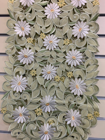 Runner 14x28 White and Yellow Daisy on Green Fabric