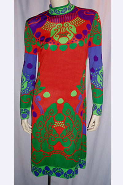 1960s Leonard of Paris Silk Print Dress