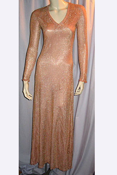 1970s Stephen Burrows Peach Lurex Dress
