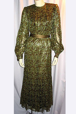 1970s Nina Ricci Lace Evening Dress