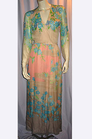 1970s Hanae Mori Beaded Bird Gown