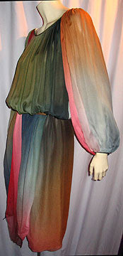 1970s Bill Blass Ombre Dyed Dress