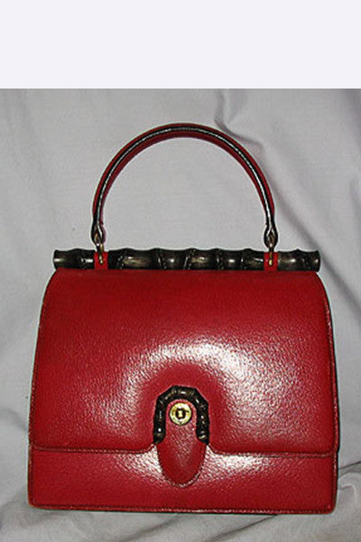 1960s Gucci Leather & Bamboo Handbag