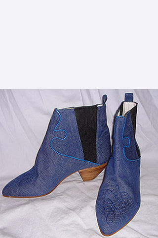 1980s Maud Frizon Denim Ankle Boots