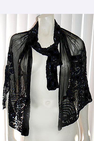 1920s Beaded Silk Cape