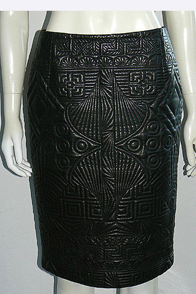 1980s Gianni Versace Quilted Leather Skirt