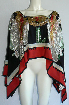1970s Michaele Volbrach Beaded Poncho