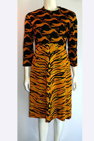 1970s Oleg Cassini Wildcat Dress