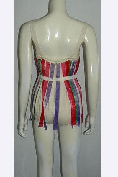 1960s Oleg Cassini Ribbon Swimsuit