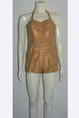 1950s Nettie Rosenstein Gold Lame' Swimsuit
