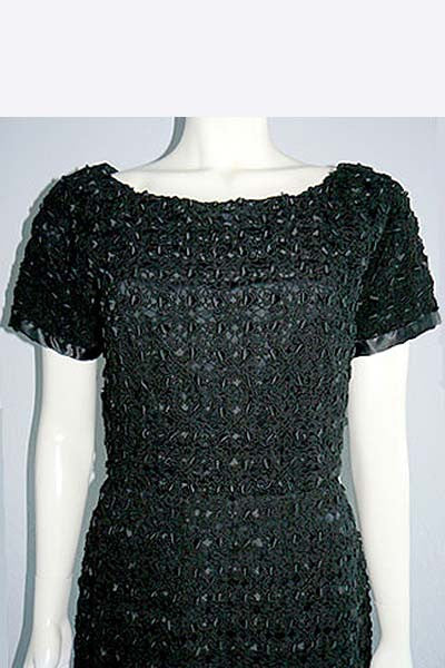 1950s Sybil Connolly Crochet & Ribbon Dress