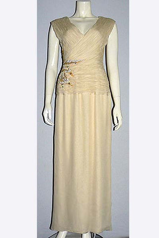 1980s Jean Louis Scherrer Pleated & Beaded Gown