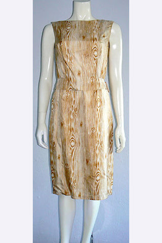 1950s Madeleine de Rauch Wood Print Dress