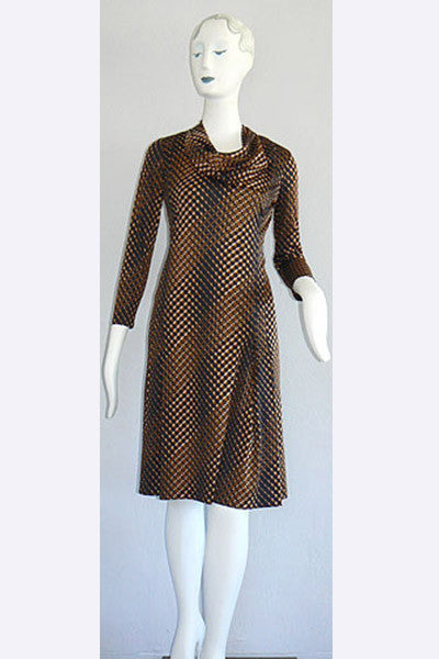 1970s Adele Simpson Op Art Print Dress