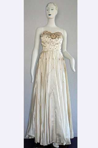 1940s Leyna Beauvilain Satin Beaded Gown