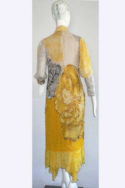 1970s Hanae Mori Beaded Dress