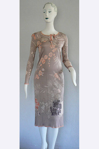 1970s Leonard of Paris Silk Jersey Floral Dress