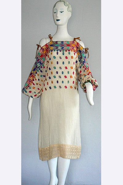 1970s Giorgio Sant Angelo Embroidered Dress