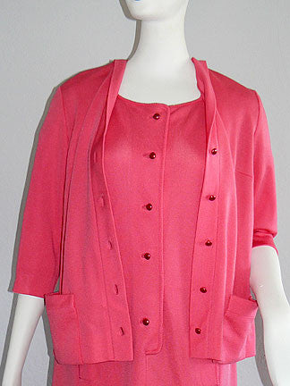 1960s Schiaparelli Shocking Pink Dress & Jacket Ensemble