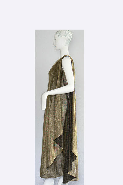 1970s Halston Gold Lame Goddess