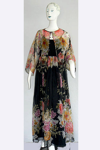 1970s Donald Brooks Boho Chiffon Ensemble