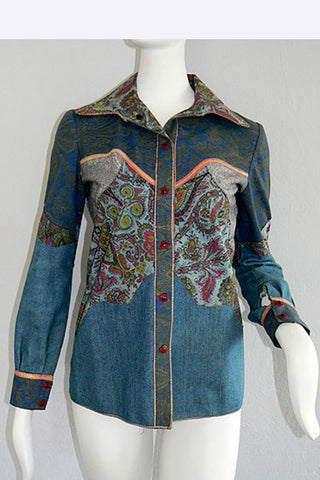 1970s Roberto Cavalli Printed Leather & Denim Jacket