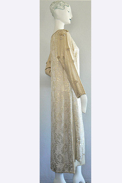 1970s Geoffrey Beene Gold Lame' Tunic Dress