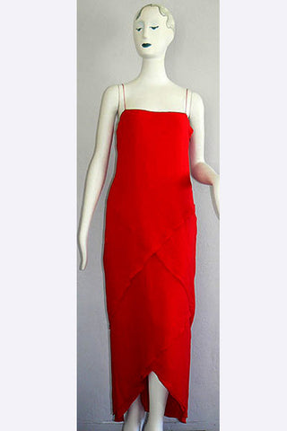 1970s Bill Blass Red Gown