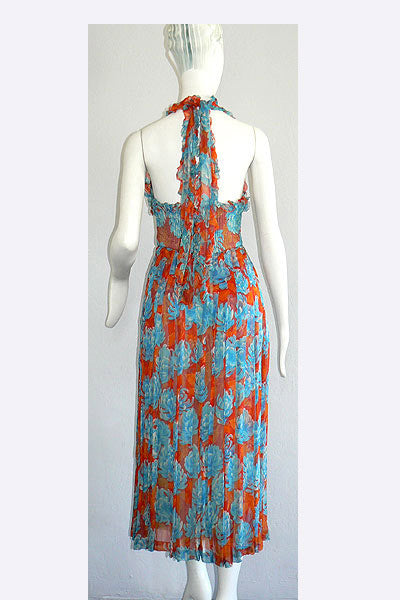 1970s Valentino Silk Floral Dress
