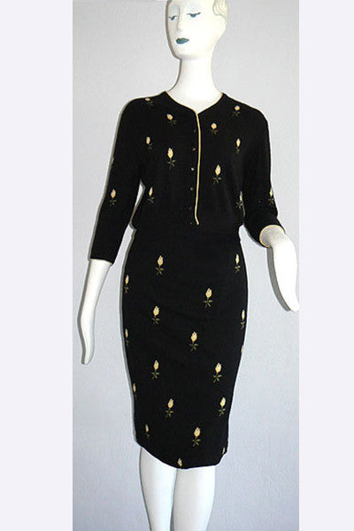1950s Bocara Vienna for Bernhard Altman Cashmere Cardigan & Skirt Ensemble