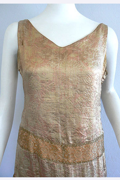 1920s Gold Lame' and Gold Lace Dress