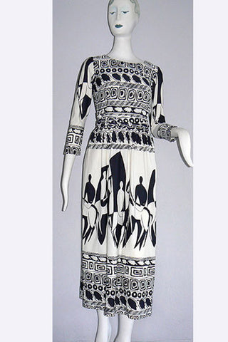1960s Orsini - I. Magnin Black & White Print Dress
