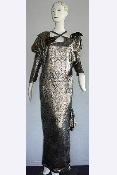"1980s Bill Gibb Gold Lame' ""Bronze Age"" Dress"