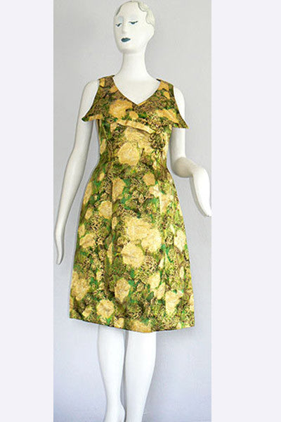 1960s Gold and Green Silk Dress
