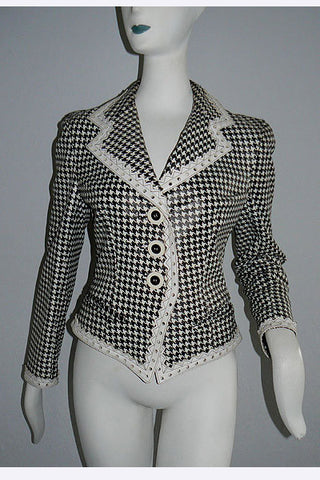 1960s Christian Dior Houndstooth Print Leather Jacket