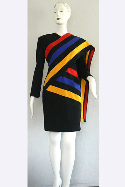 1980s Patrick Kelly Color Stripe Dress