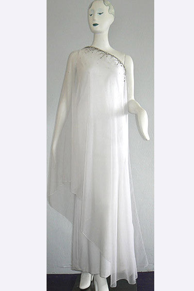 1960s Arnold Scaasi Attributed Beaded Goddess Gown
