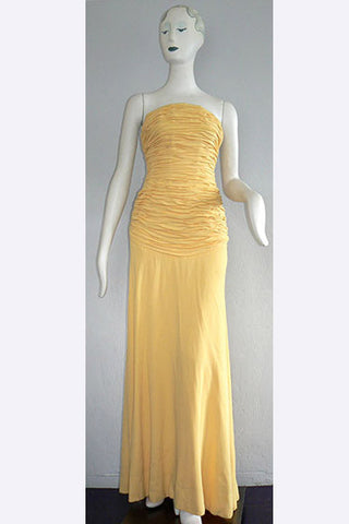 1970s Arnold Scaasi Buttercup Ruched Gown