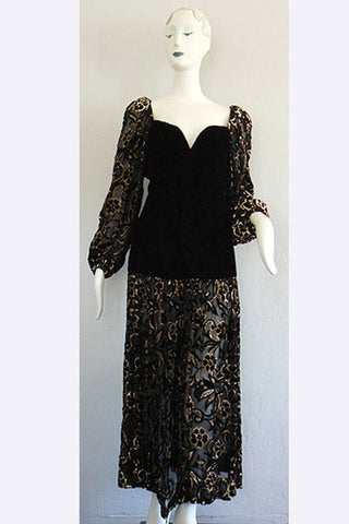 1970s  Yves Saint Laurent Sheer Devore & Velvet Dress