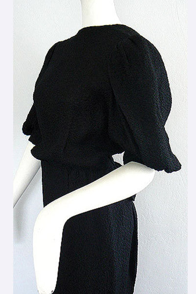 1970s Hubert Givenchy Haute Couture Black Dress