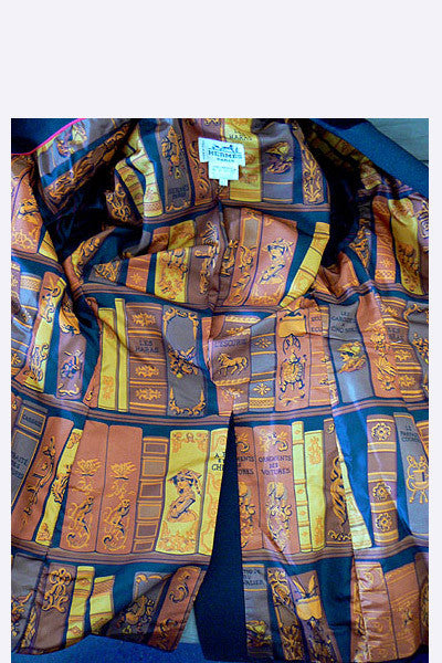 1970s Hermes Equestrian Riding Jacket with Scarf Print Lining