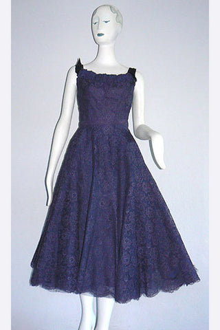 1950s Hattie Carnegie Violet Lace Party Dress