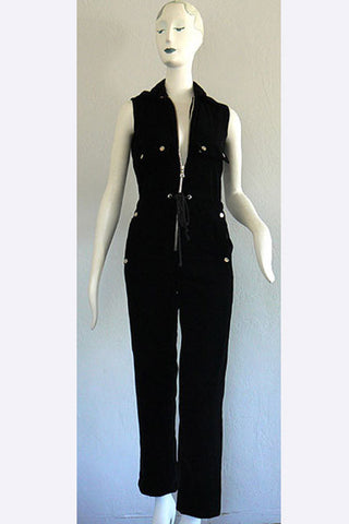 1960s Courreges Zip Down Velvet Jumpsuit