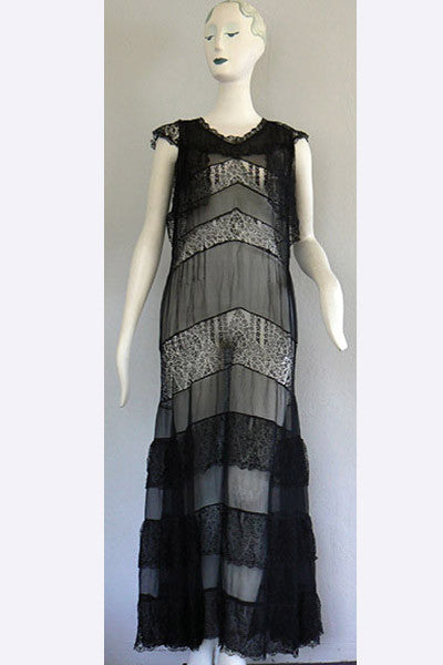 1930s Lace & Chiffon Evening Dress