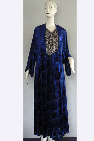 1920s French Devore Velvet & Metallic Lace Ensemble